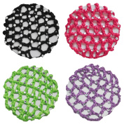 Crochet Bun Cover Snood Hair Net with 30 Crystal Rhinestones 4 pcs Colour Pack