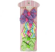 Doodlebellies Hair Bow Chevron Gross Grain Hair Clip for Girls - Colourful Pattern Hair Clip Set Unique Design for Girls (12pc