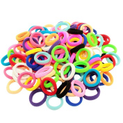 Bzybel Pack of 100 Small Terry Elastic Tiny Ponytail Hair Band Holder Hair Ties MIX Colours