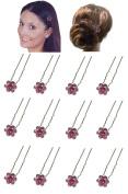 Dozen Pack Hair Sticks with Crystal Flower Ornament 1.1cm in diameter NF83075-1hsflr-Dpink