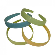 Four 2.5cm Plastic Headbands with Teeth - Blue Lime Yellow Peach