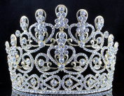 Janefashions Sensational Clear Crystal Rhinestone Tiara Crown Bridal Prom Pageant T11883-gold