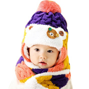 Datework Baby Useful 2 in 1 Cartoon Hats Baby Hats Hat Scarf Winter Autumn