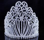 Janefashions 13cm h Clear Austrian Crystal Rhinestone Tiara W Hair Combs Crown Silver T11990
