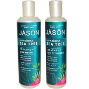 JASON All Nautral Organic Normalising Tea Tree Shampoo and Conditioner Bundle For Flaky Scalp and Dandruff With Aloe Vera and Chamomille, Paraben Free, Vegan, Sulphate Free, 17.5 & 240ml