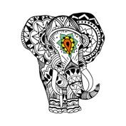 Yeeech Temporary Tattoo Sticker Animal Elephant Thailand God Design Black Waterproof for Women