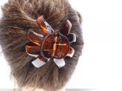 Small Size Claw Clip Zig Zag Oval Design Bun Holder French clip Updo Hair Clip (Dark Brown Tort) 5.4cm