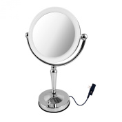 Ovente LED Lighted Tabletop Makeup Mirror, 1x/10 Magnification, 19cm , Polished Chrome