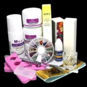 14 in 1 Simple Nail Art Tips Kit DIY Acrylic Liquid Powder Tools Glue Oil Pen Buffer Rhinestones Decorations Basic Tool Set #1224