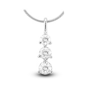 Luis Creations PRL760-075AA 0.75 Ct. 3 Stone 14K Gold Past Present Future Pendant I-J Si-I Quality Box Chain Included