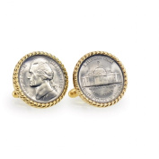 UPM Global LLC 12725 Silver Jefferson Nickel Wartime Nickel Goldtone Rope Bezel Cuff Links