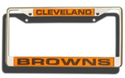 Caseys Distributing 9474640244 Cleveland Browns Laser Cut Chrome Licence Plate Frame