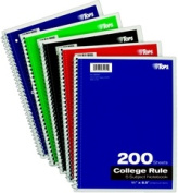 TOPS 65581 Wirebound Notebook 5 Subject 4 Plain Kraft Dividers College Ruling 200 Sheets Asst Covers Size 28cm x 22cm