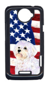 Carolines Treasures SS4043HTCONE USA American Flag With Maltese HTC One X Cell Phone Cover