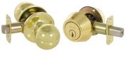 Callan KR3003 Fairfield Series Grade 3 Keyed Entry Knob & Single Cylinder Deadbolt Set Bright Brass