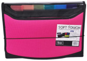 Filexec Soft Touch Padded Canvas Window Expanding File 13 Pockets Hot Pink