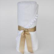 Little Ashkim BHTNBW Newborn Hooded Bamboo Turkish Towel - White With White Ribbon