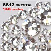 Perfect Summer 1440pcs DIY Nail Art Designs Sets Mix-sizes Clear Crystal Rhinestones Flatback Gems Diamond Decorations 3.2mm