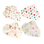 Cotton Baby Drool Teething Feeding Bibs Triangle Scarf Kerchief,4 Pack