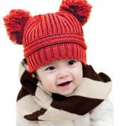 Tonsee Cute Baby Kids Girl Boy Dual Balls Warm Winter Knitted Cap Hat Beanie