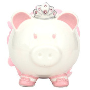 . Pink Colour with Crown Princess Porcelain Piggy Bank for Kids