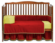Baby Doll Solid Reversible Crib Bedding Set, Red/Yellow