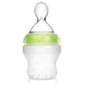 Mumlove Natural Silicone Baby Bottle with Silicone Squeeze Spoon Feeder Bottle, 150ml,1×Formula Dispenser FREE Gift