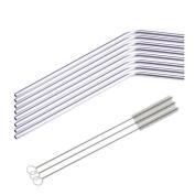 DZT1968® 8 Pcs Stainless Steel Metal Drinking Straw Reusable Straws + 3 Cleaner Brush Kit