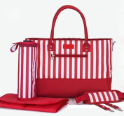 Skinly 3Pcs Baby Nappy Shoulder Bag with Vertical Stripe Size M Red