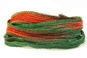 Christmas Handmade Silk Ribbon - Christmas Red, Garnet and Kelly Green with Bright Green Metallic Edges
