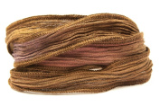 Cafe Mocha Handmade Silk Ribbon - Four Shades of Brown Blended