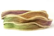 Wild Desert Handmade Silk Ribbon - Terracotta, Green, Purple with Creme Edges