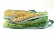 Delicate Spring Handmade Silk Ribbon - Green, Light Brown, Beige with Light Blue Edges