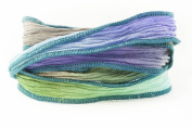 Greek Goddess Handmade Silk Ribbon - Dove Grey, Periwinkle, Olive Green and Light Turquoise with Teal Edges