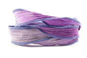 Stormy Iris Handmade Silk Ribbon - Mixed Purple, Light Blue and Grey Blend with Blue Edges