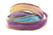 Mocha Purple Flash Handmade Silk Ribbon - Blue, Purple, Lavendar, Mauve with Brown Edges