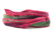 Fuchsia Bloom Handmade Silk Ribbon - Cherry Red, Green, Eggplant with Cherry Red Edges