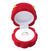 Red Rose Flowers Basket Ring Stud Earrings Gift Box Jewellery Storage Case by 24/7 store