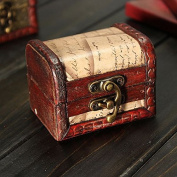 Retro Vintage Stamp Wooden Jewellery Storage Box Case Metal Lock by 24/7 store