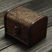 Retro Vintage Flower Printed Wooden Jewellery Storage Box Case by 24/7 store