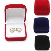 Black Velvet Stud Earring Ring Jewellery Box Jewellery Display Gift Box by 24/7 store