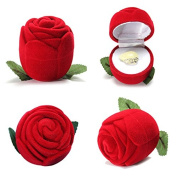 Romantic Velvet Rose Wedding Ring Box Earring Necklace Jewellery Box by 24/7 store