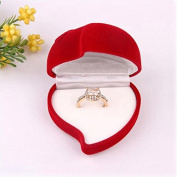 1 Double Ring Box Velvet Red Heart Flower Shaped Jewellery Storage Case by 24/7 store