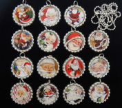 15 VINTAGE SANTA CLAUS Flat Bottle Cap Necklaces for Birthday, Party Favours Set A1