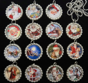 15 VINTAGE SANTA CLAUS Flat Bottle Cap Necklaces for Birthday, Party Favours Set A2