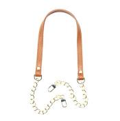 80cm byhands Genuine Leather Metal Chain Shoulder Bag Strap