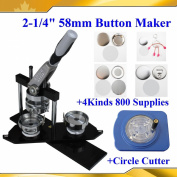 "Superior N3 2-1/4"" 58mm Badge Maker+4 Kinds 800 Button Supplies+circle Cutter"
