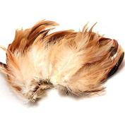 KING DO WAY 100pcs Fluffy Fashion Rooster Feather Fringe Decoration Home Craft DIY 15cm - 20cm US brown