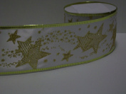 Gift Wrapping, Christmas Ribbon Wired Edge White Ribbon/Gold Shooting STAR -27cm X 10 YARDS