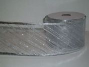 Gift Wrapping, Christmas Ribbon Wired Edge Organza Nylon WHITE/SILVER STRIPE -27cm X 10 YARDS